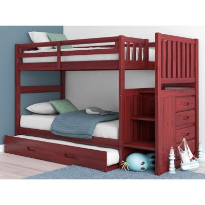 Merlot Twin over Twin Solid Pine Staircase Bunkbed with 4-Drawer Chest and Twin Trundle