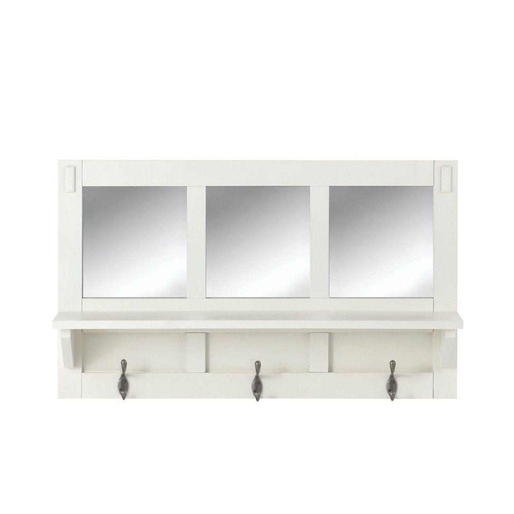 Home decorators collection artisan 18 in h 3 hook mdf wall shelf home decorators collection artisan 18 in h 3 hook mdf wall shelf with mirror amipublicfo Gallery