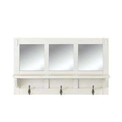 Artisan 18 in. H 3-Hook MDF Wall Shelf with Mirror in White