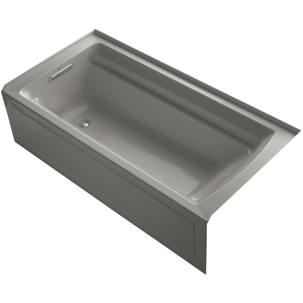 Archer VibrAcoustic 6 ft. Left Drain Soaking Tub in Cashmere with