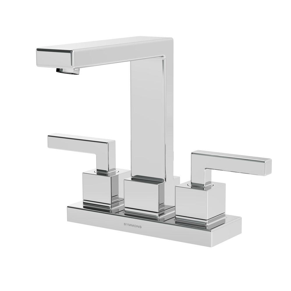 Symmons Duro 4 in. Centerset 2-Handle Mid-Arc Bathroom Faucet in ...