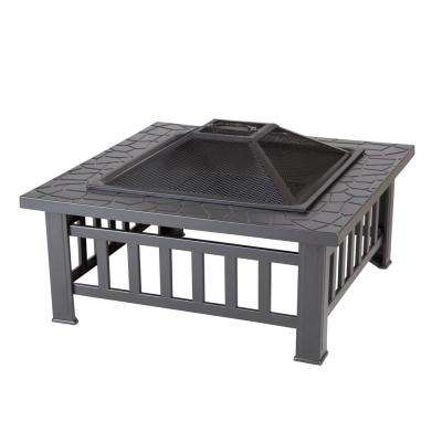 Stonemont 23 in. Square Steel Black Fire Pit