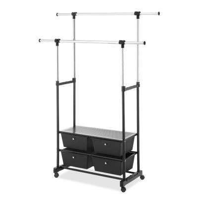 66 in. H x 54 in. W Double Garment Rack with Drawers