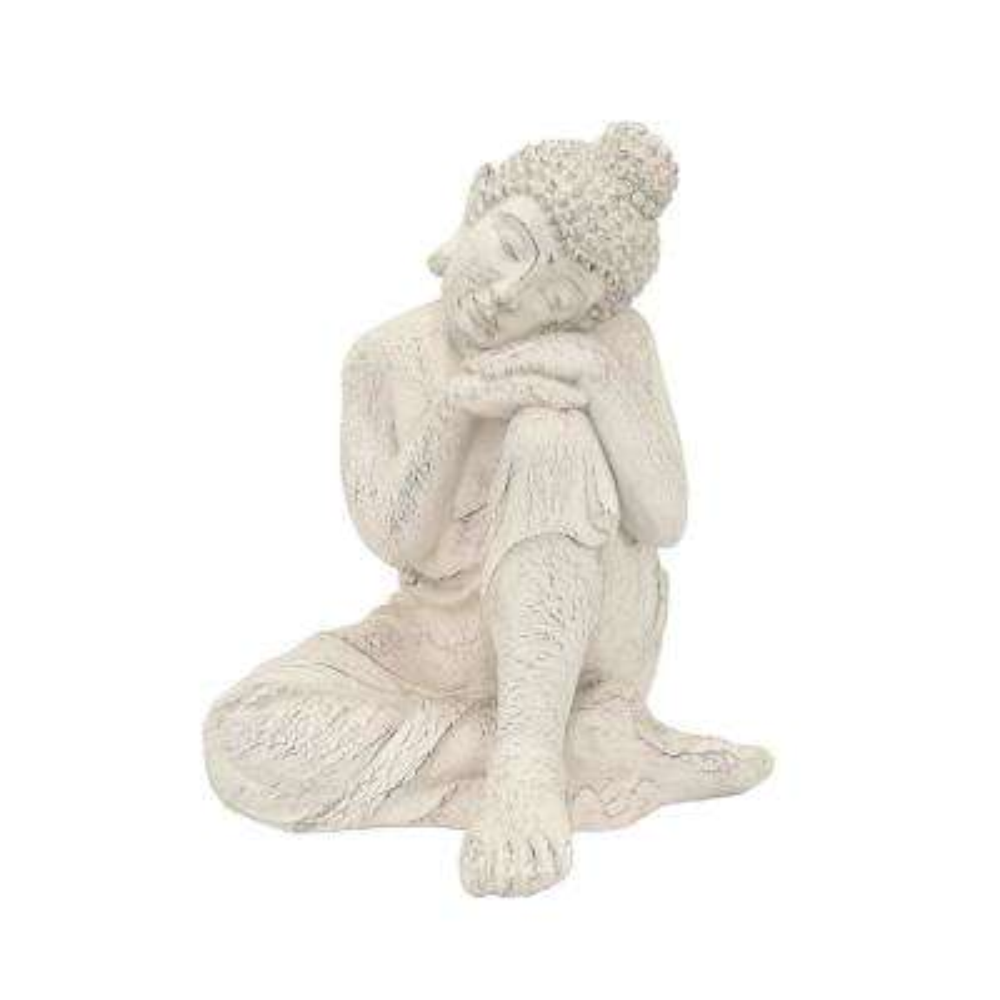 12 in. x 12 in. Resin Sitting Buddha in White