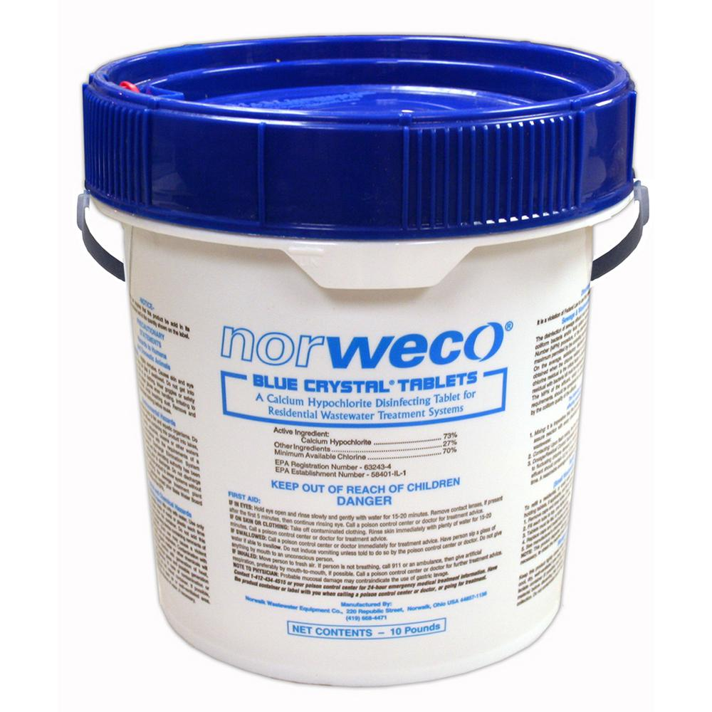 Norweco 10 lb. Pail Blue Crystal Chlorine Tablets for Aerobic or Septic Systems