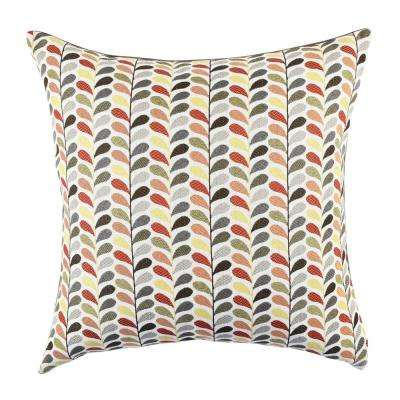 Multicolored Leaf Print Designer Pillow