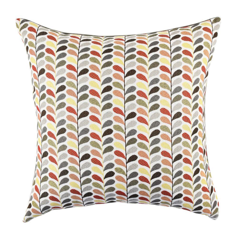 Multicolored Leaf Print Designer Pillow