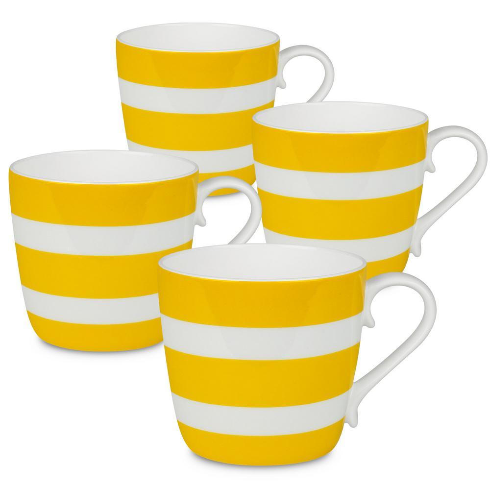 Konitz 4-Piece Polka Stripes Sun Bone China Mug Set