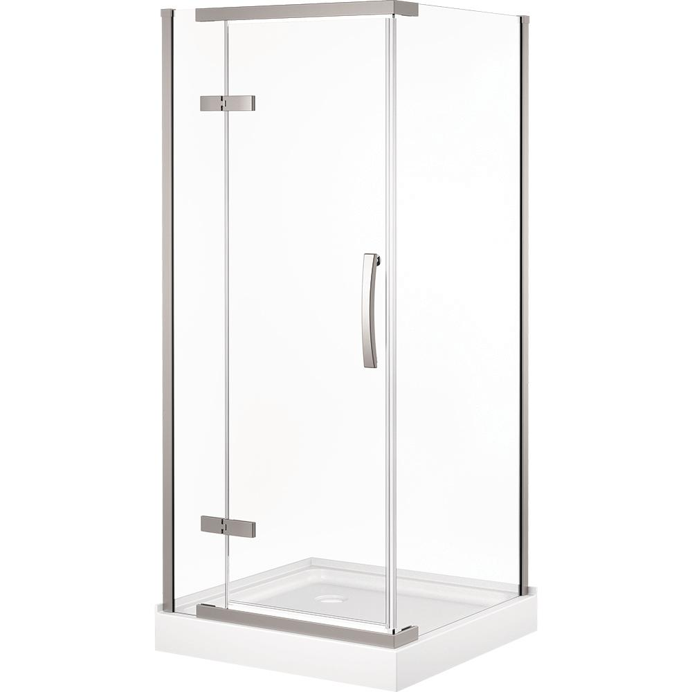 Beau Frameless Corner Shower With Stainless Steel Shower Door In