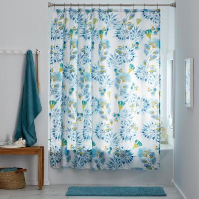 Oahu Floral 72 in. Multicolored Cotton Percale Shower Curtain
