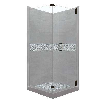 Del Mar Grand Hinged 38 in. x 38 in. x 80 in. Right-Hand Corner Shower Kit in Wet Cement and Black Pipe Hardware
