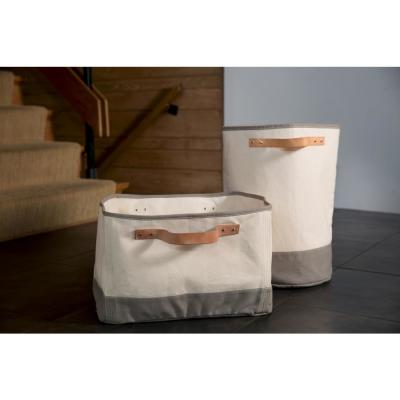 Gray Leather Handle Hamper Storage