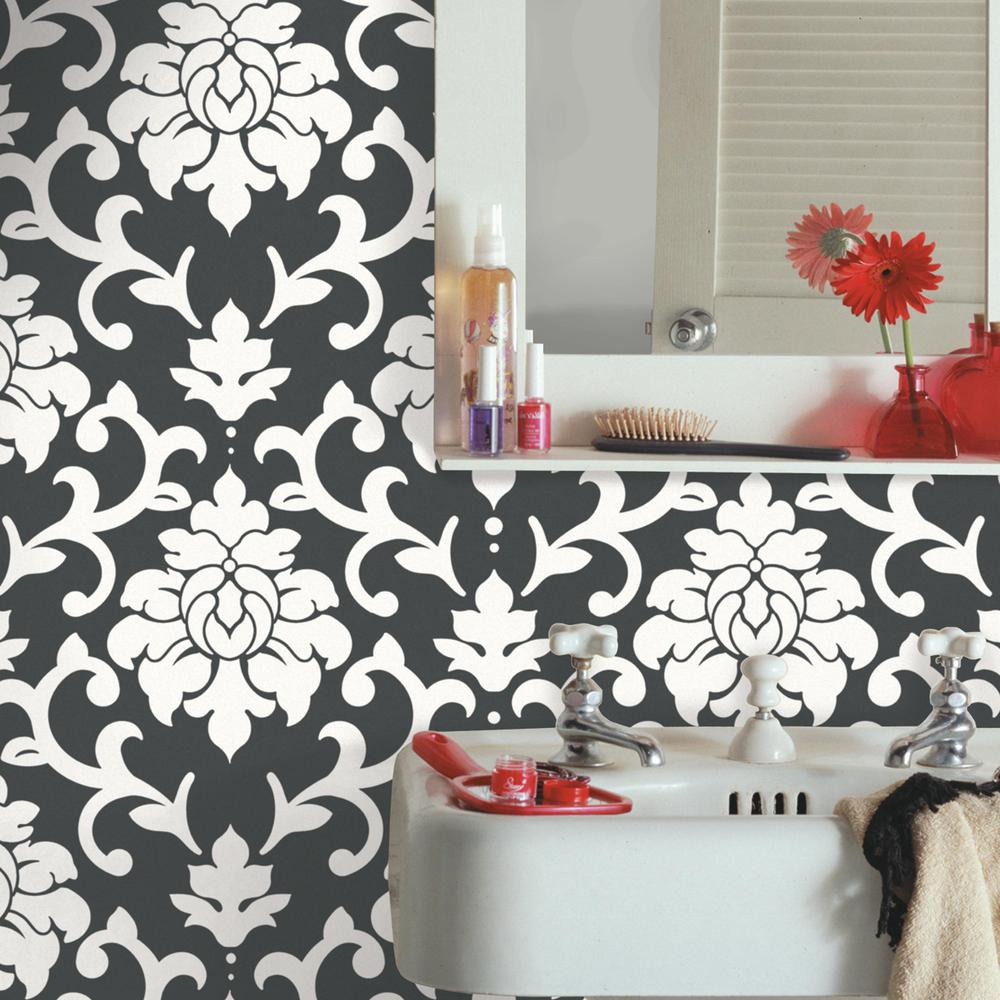 28.18 sq. ft. Black Damask Peel and Stick Wall Decor