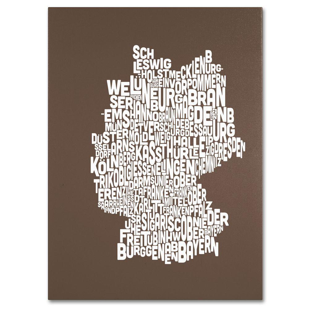 14 in. x 19 in. Germany Regions Map - Coffee Canvas