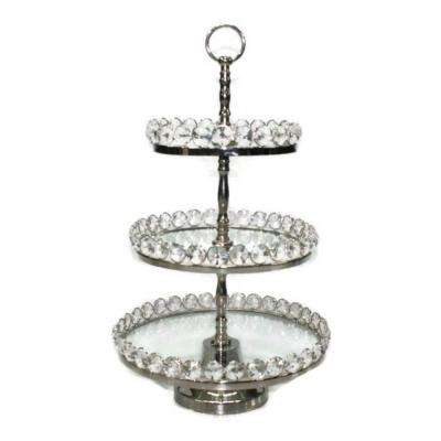 20 in. H 3-Tier Glastainless Steel/Nip Stand Detachable Crystal Border (Plates 8/10/12 in.)