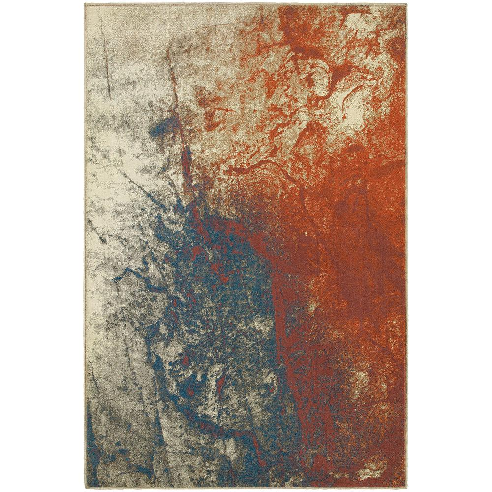 Storm Grey/Spice 6 ft. 7 in. x 9 ft. 6 in. Area Rug