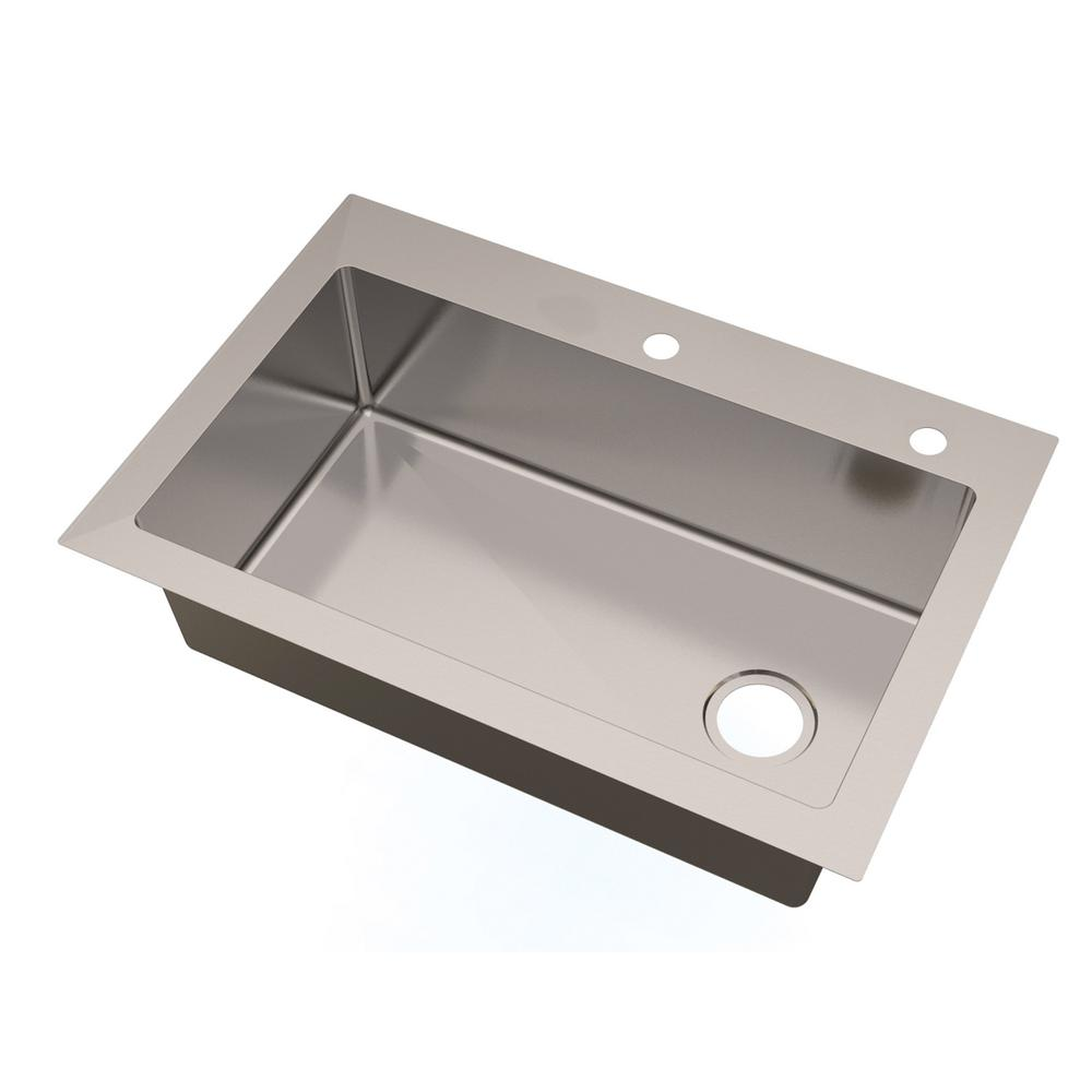 Glacier Bay All In One Dual Mount Small Radius Stainless Steel 33 In 2 Hole Single Basin With
