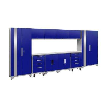Performance 2.0 156 in. W x 75.25 in. H x 18 in. D Steel Stainless Steel Worktop Cabinet Set in Blue (12-Piece)
