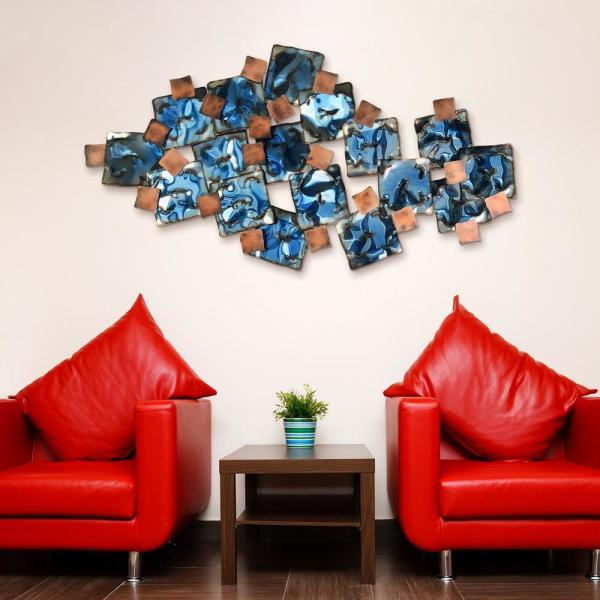 ''Mesh'' Hand Painted Etched Metal Wall Sculpture 48.8 in. x 26.0 in.