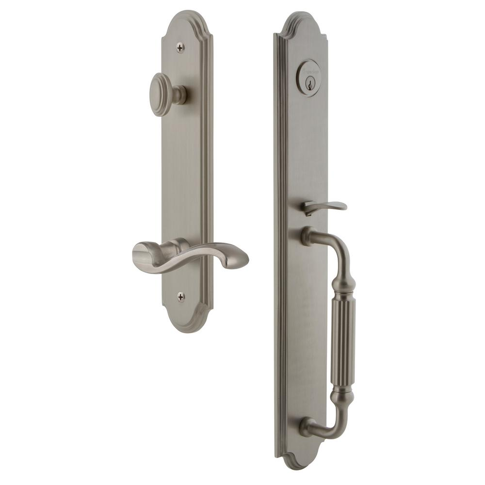 Grandeur Arc Satin Nickel 1-Piece Dummy Door Handleset with F Grip and Portofino Lever