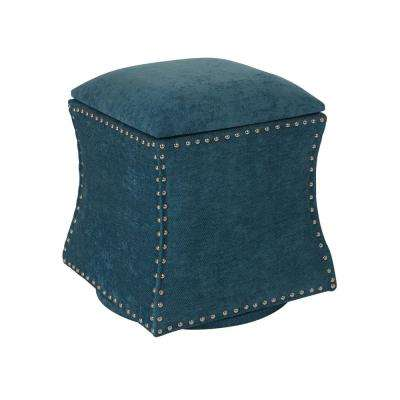 St. James Sky Fabric with Silver Nail-Heads Swivel Ottoman
