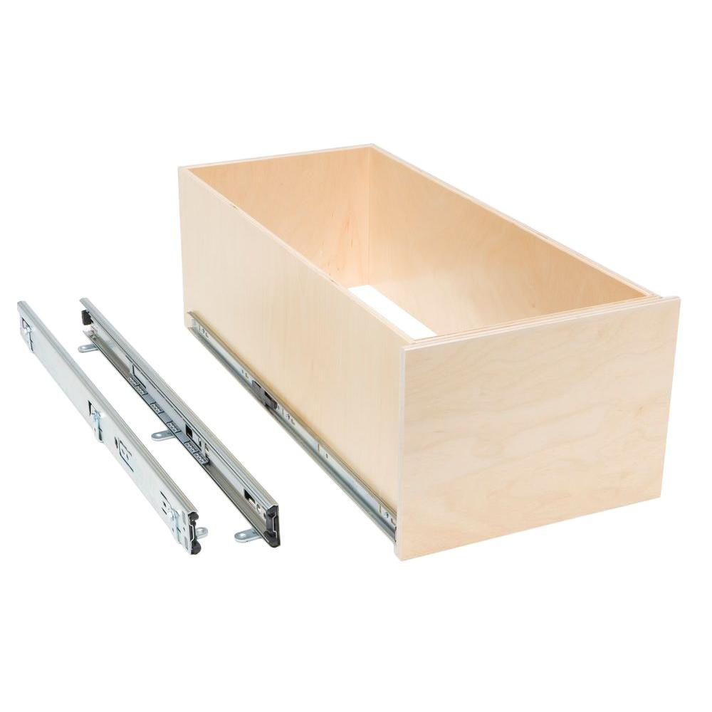 Slide-A-Shelf Made-To-Fit 6 in. to 30 in. wide, High Profile 8 in. Tall Box Slide-Out Shelf, Full Extension, Poly-Finished Birch wood