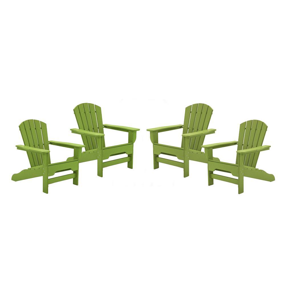 Boca Raton Lime Recycled Plastic Curveback Adirondack Chair (4-Pack)