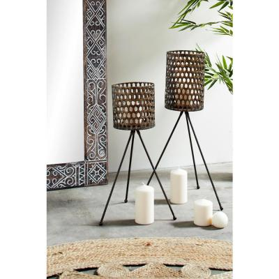 Industrial Large Round Bronze Metal Lanterns on Tripod Stands (Set of 2)