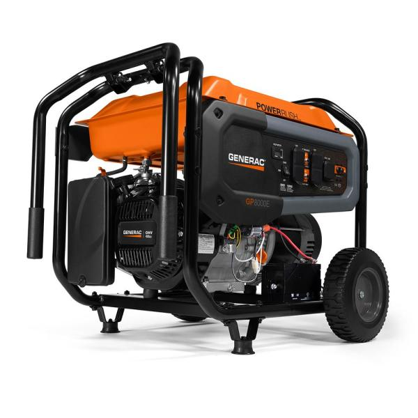 Generac Gp 8 000 Watt Electric Start Gas Powered Portable Generator 50 St Carb 7676 The Home Depot