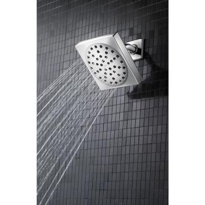 90 Degree 1-Spray 6 in. Single Tub Wall Mount Fixed Shower Head in Brushed Nickel