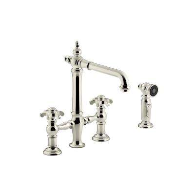 Artifacts 2-Handle Bridge Kitchen Faucet with Prong Handles and Side Spray in Vibrant Polished Nickel
