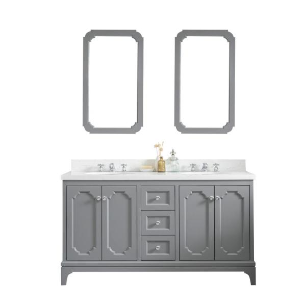 Queen 60 in. Cashmere Grey With Quartz Carrara Vanity Top With Ceramics White Basins