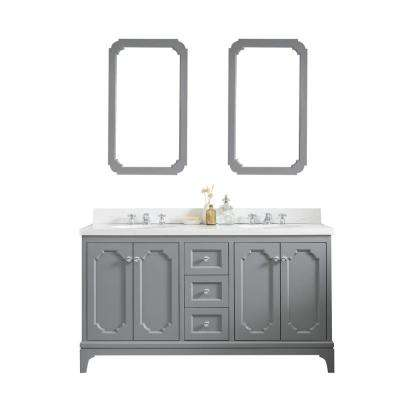 Queen 60 in. Cashmere Grey With Quartz Carrara Vanity Top With Ceramics White Basins and Mirror