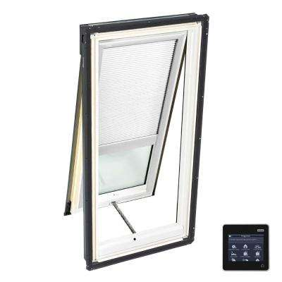 21 in. x 54-7/16 in. Venting Deck-Mount Skylight w/ Laminated Low-E3 Glass and White Solar Powered Room Darkening Blind
