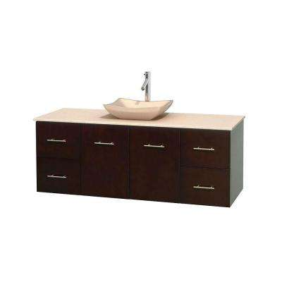 Centra 60 in. Vanity in Espresso with Marble Vanity Top in Ivory and Sink