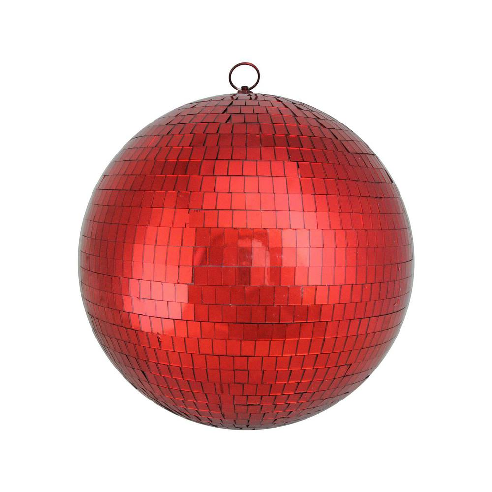 Northlight Large Shiny Red Hot Mirrored Glass Disco Ball Christmas Ornament