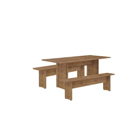 Tarrytown 3-Piece 67.91 in. Nature Rustic Country Dining Set