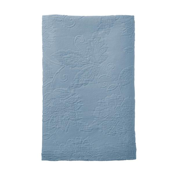 The Company Store Putnam Matelasse Dusty Blue Cotton King Coverlet