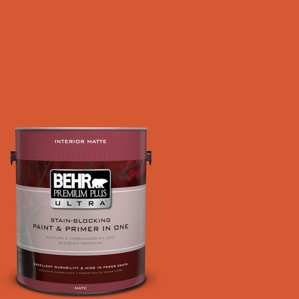 BEHR Premium Plus Ultra 1 gal. #S-G-220 Sweet Mandarin Flat/Matte Interior Paint