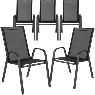 Stackable Metal Outdoor Dining Chair in Black (Set of 5)