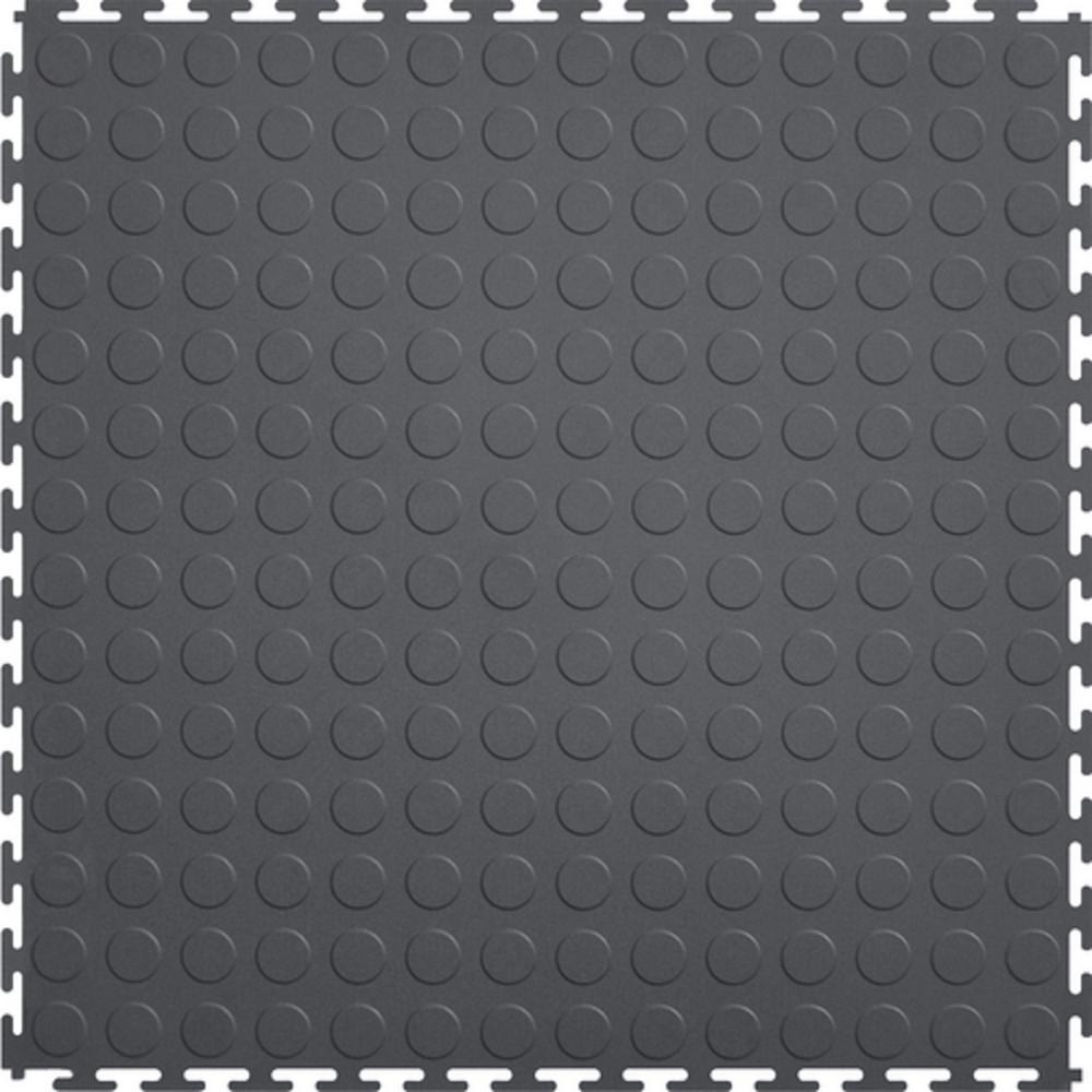 Coin 1.71 ft. Width x 1.71 ft. Length Dark Gray PVC Garage Flooring