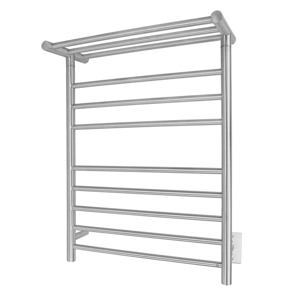 Elevate Huron 8-Bar Electric Towel Warmer in Brushed Stainless Steel