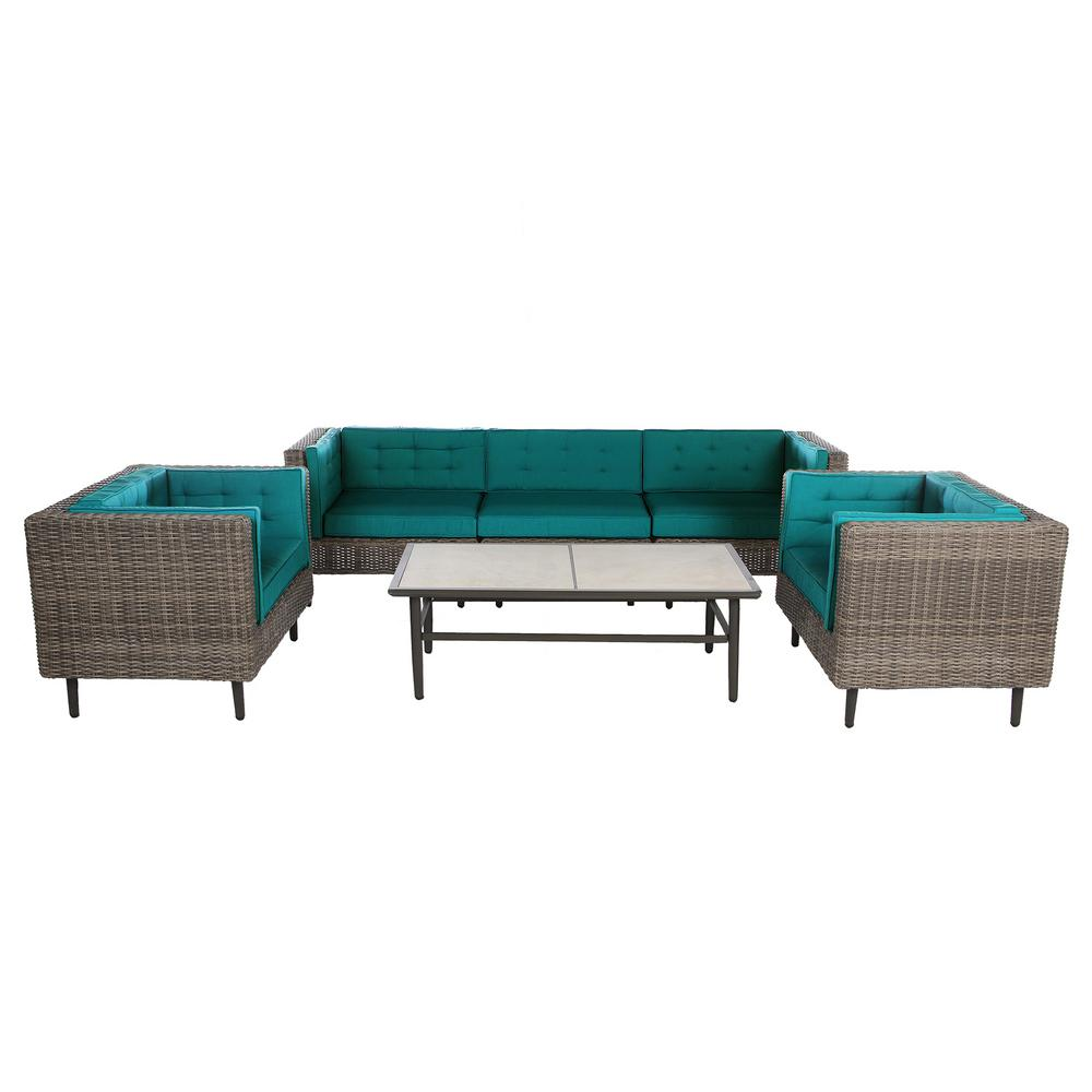 Wicker Deep Seating Set Spectrum Peacock Cushions
