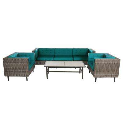 Aimee 6-Piece Wicker Patio Deep Seating Set with Spectrum Peacock Cushions