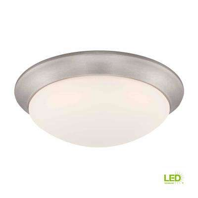11 in. 120-Watt Equivalent Brushed Nickel Integrated LED Flushmount with Frosted White Glass Shade