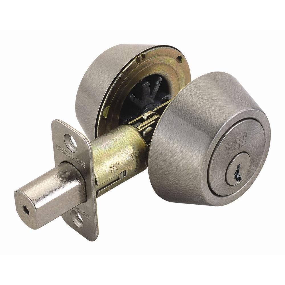 Design House Double Cylinder Satin Nickel Deadbolt