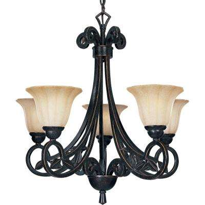 Le Jardin Collection 5-Light Espresso Chandelier with Shade