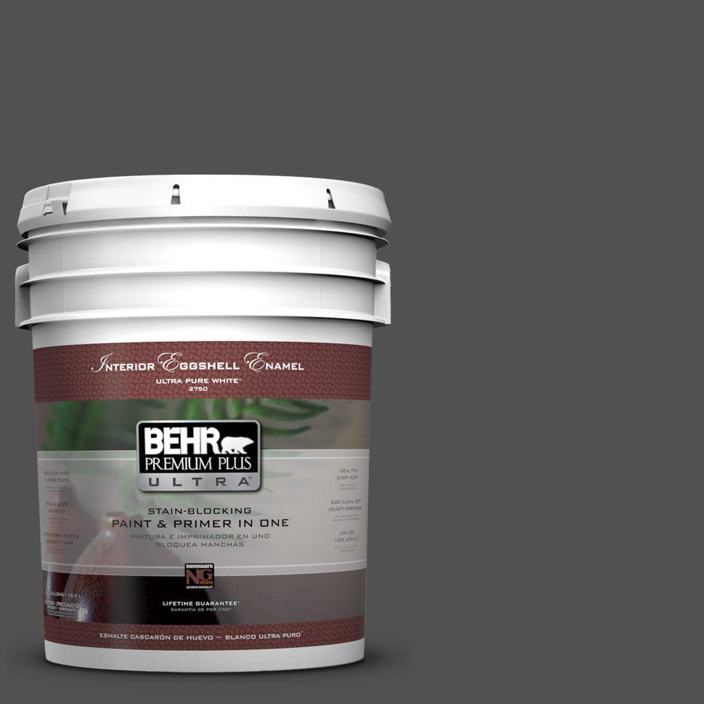 BEHR Premium Plus Ultra 5-gal. #N460-7 Space Black Eggshell Enamel Interior Paint