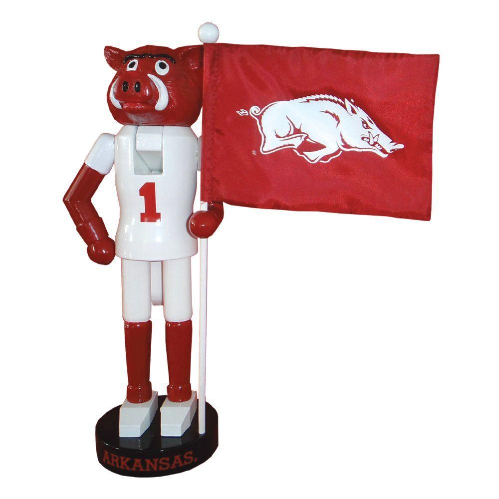 12 in. Arkansas Mascot Nutcracker with Flag