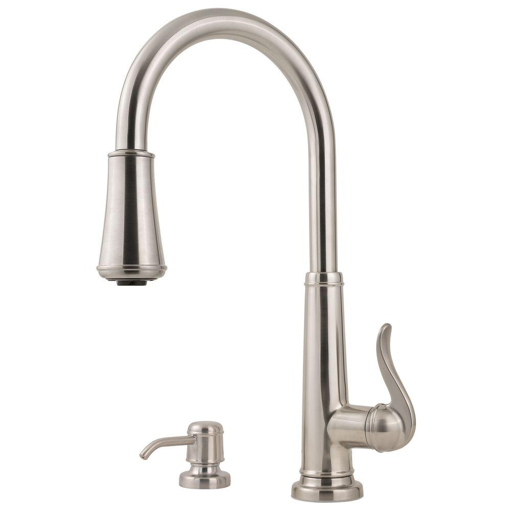 Pfister Ashfield Single Handle Pull Down Sprayer Kitchen Faucet With Soap  Dispenser In Stainless Steel LF 529 MYPS   The Home Depot